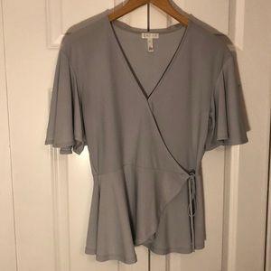 Leith Grey Flutter Sleeve V-Neck Top